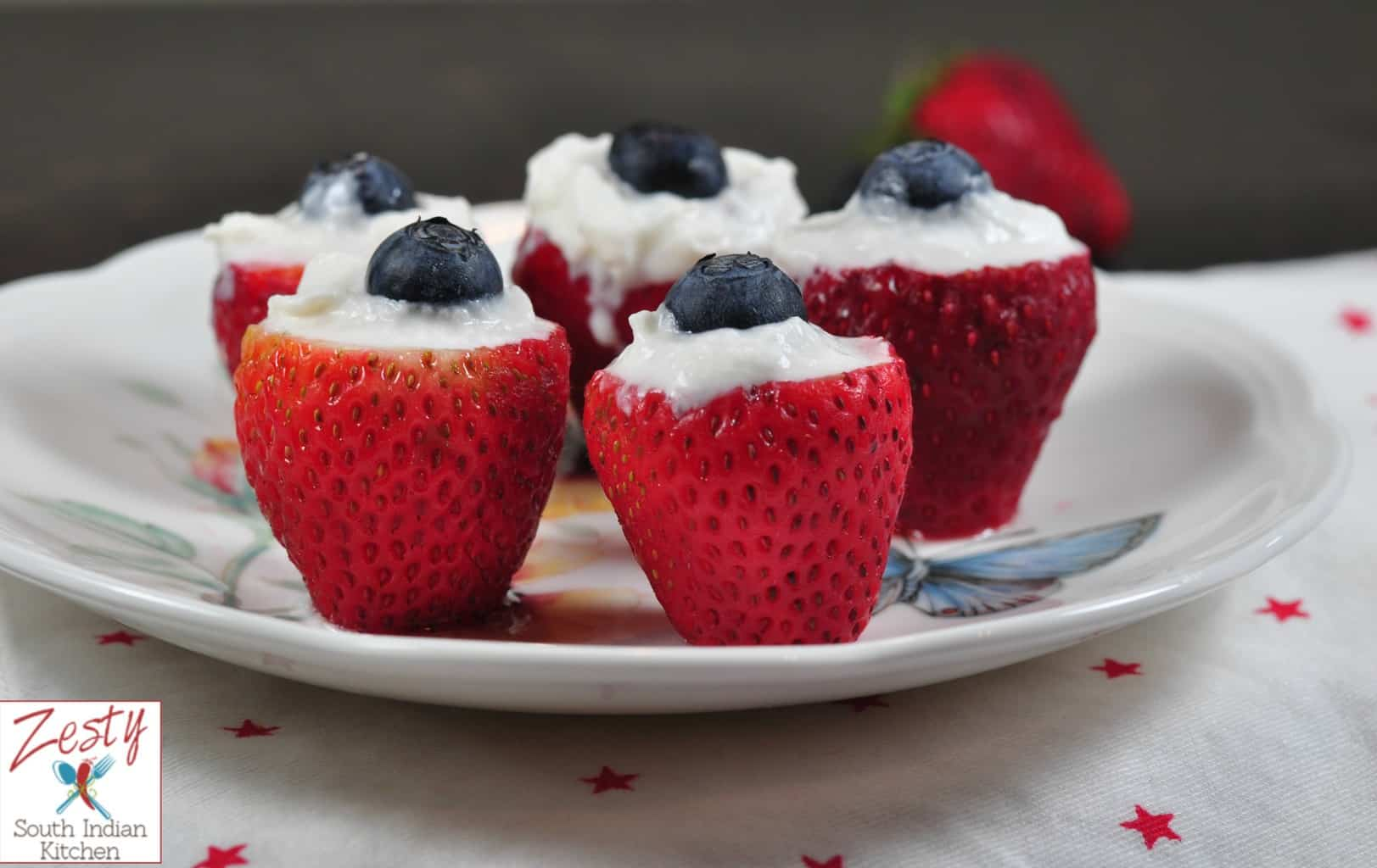 strawberry blueberry with cream red white and blue dessert