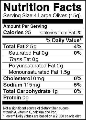 Olives label.