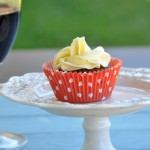 Chocolate red wine cupcake with orange butter cream for date night and Valentine giveaway