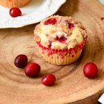 Cranberry orange muffins with Orange crumble topping