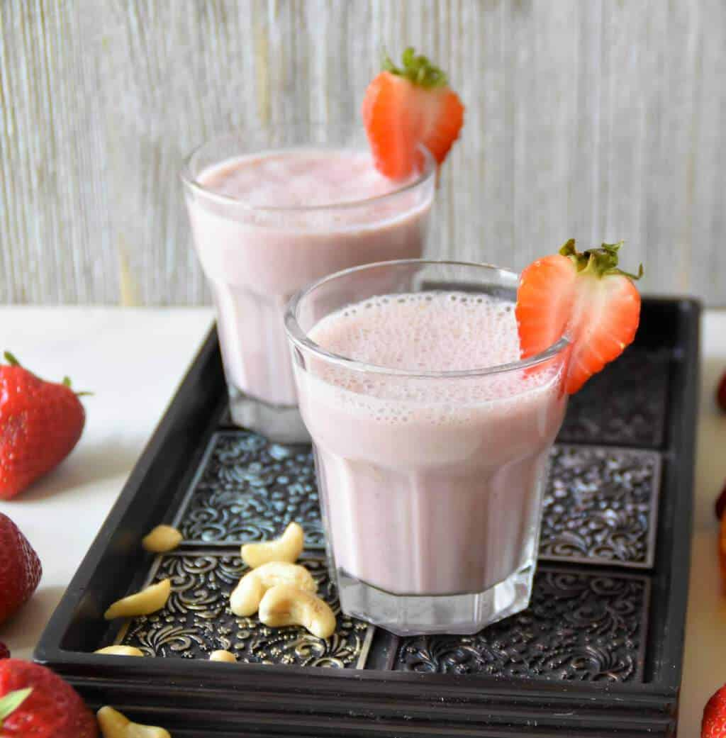 Vegan Strawberry Cashew Smoothie - Zesty South Indian Kitchen