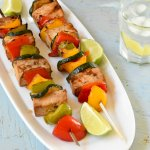 Grilled Teriyaki Shrimp and Grilled tofu skewers