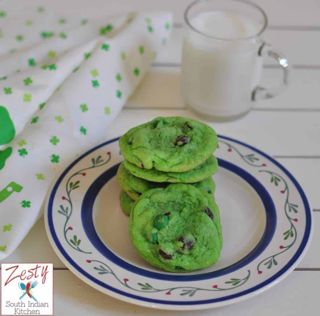 Green chocolate chip cookies for St. Patrick Day