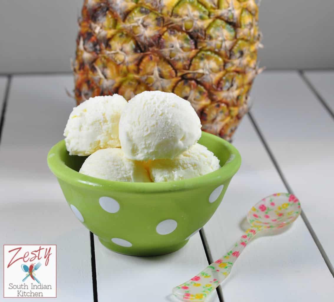 Homemade fresh Pineapple Ice cream