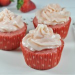 Strawberry Surprise  Cupcakes with Strawberry Cream cheese frosting