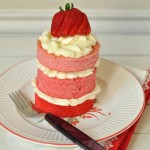 Mini strawberry cake with buttercream frosting