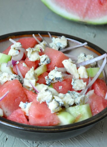Watermelon Cucumber salad with Blue Cheese and Blue cheese Paratha for Blue Tuesday