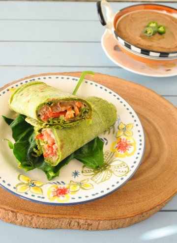 Homemade Spinach Tortilla Wrap and South West Black bean Hummus