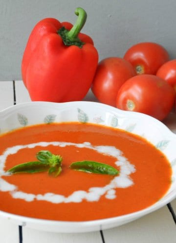 Creamy Tomato  Roasted Red Bell Pepper Soup
