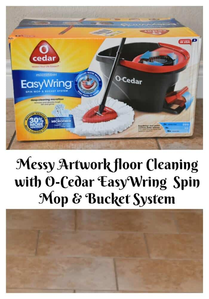 Messy Artwork floor Cleaning with O-Cedar EasyWring Spin Mop ... 51f21d88b90