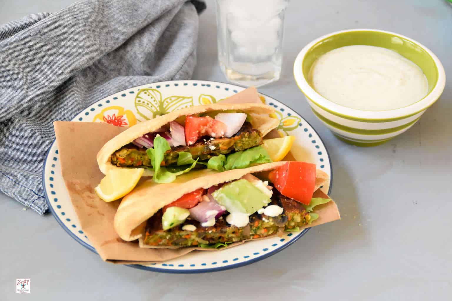 Grilled Veggie Burger Pita with Yogurt Tahini Sauce