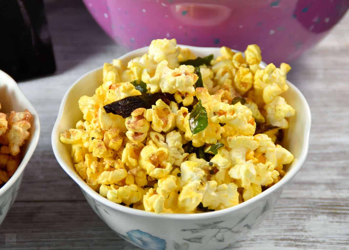 Curry leaves Popcorn and chocolate almond butter Popcorn for movie night date