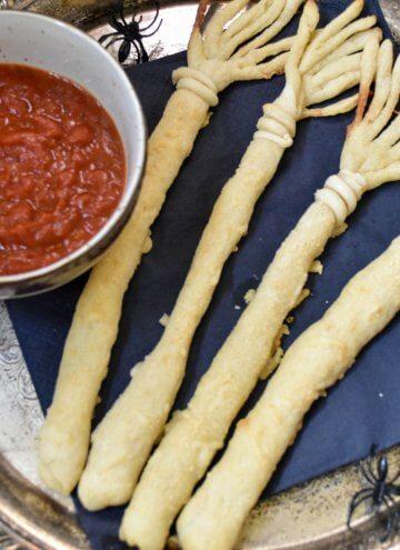 Cheesy Witches Broom Bread Sticks
