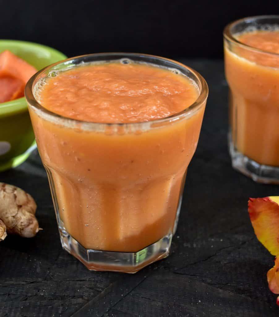 Papaya Ginger Banana Smoothie - Zesty South Indian Kitchen