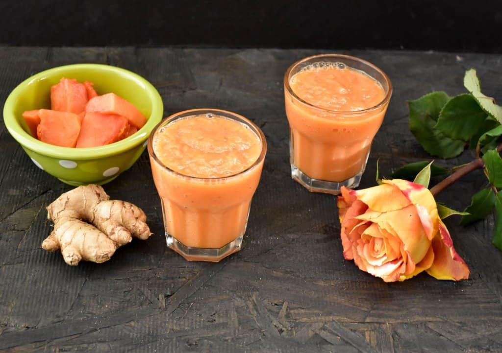 Papaya Ginger Banana Smoothie - Zesty South Indian Kitchen