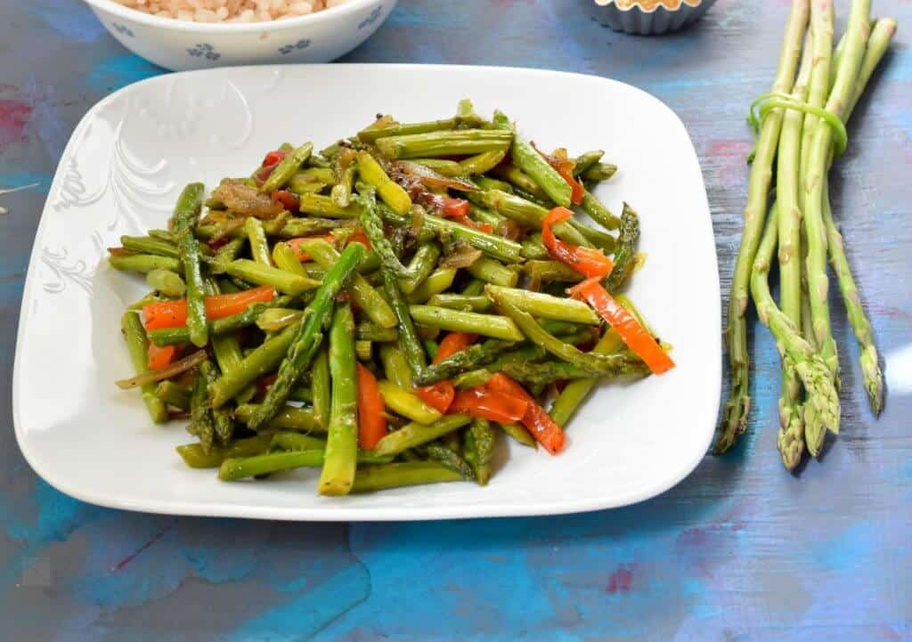 "<img src=""asparagus stir fry.jpg"" alt=""Asparagus stir fry with mild spices >"